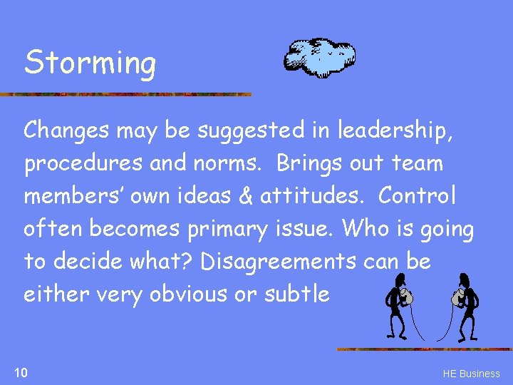 Storming Changes may be suggested in leadership, procedures and norms. Brings out team members'