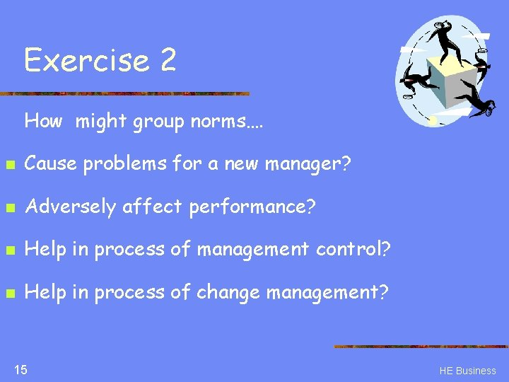 Exercise 2 How might group norms…. n Cause problems for a new manager? n