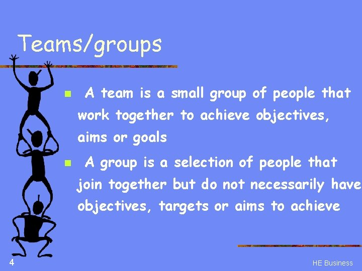 Teams/groups n A team is a small group of people that work together to