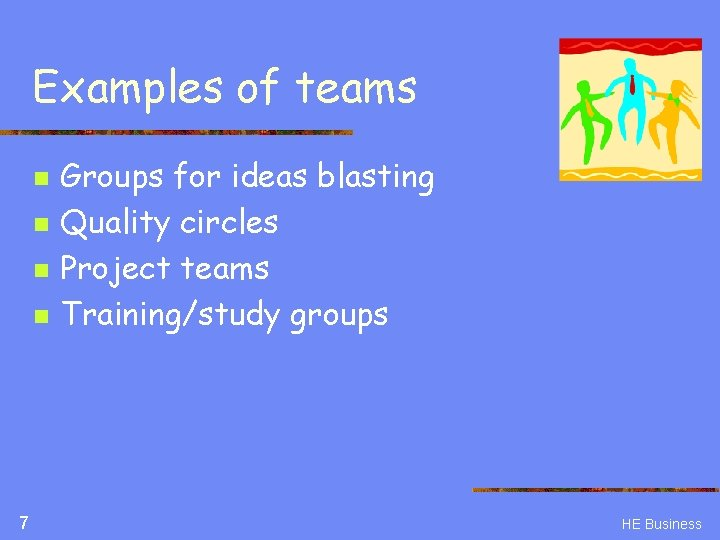 Examples of teams n n 7 Groups for ideas blasting Quality circles Project teams