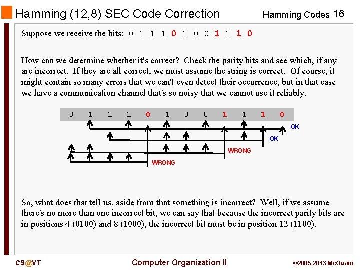 Hamming (12, 8) SEC Code Correction Hamming Codes 16 Suppose we receive the bits: