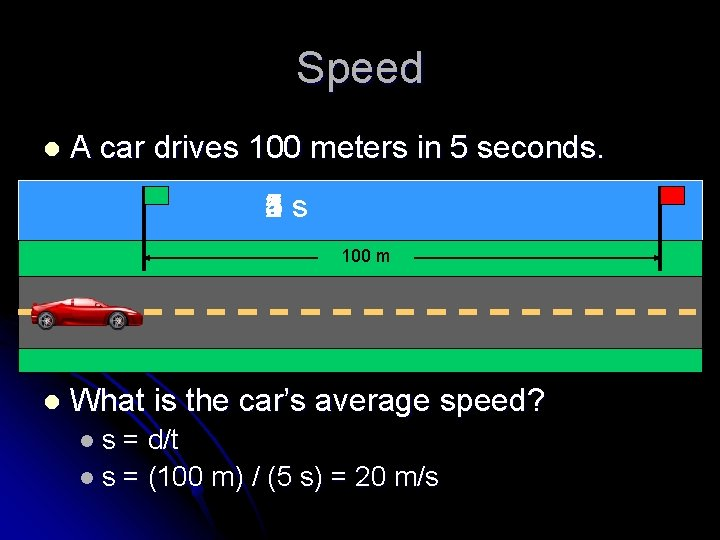 Speed l A car drives 100 meters in 5 seconds. 1 s 2 3
