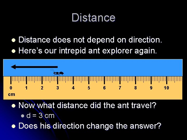 Distance does not depend on direction. l Here's our intrepid ant explorer again. l