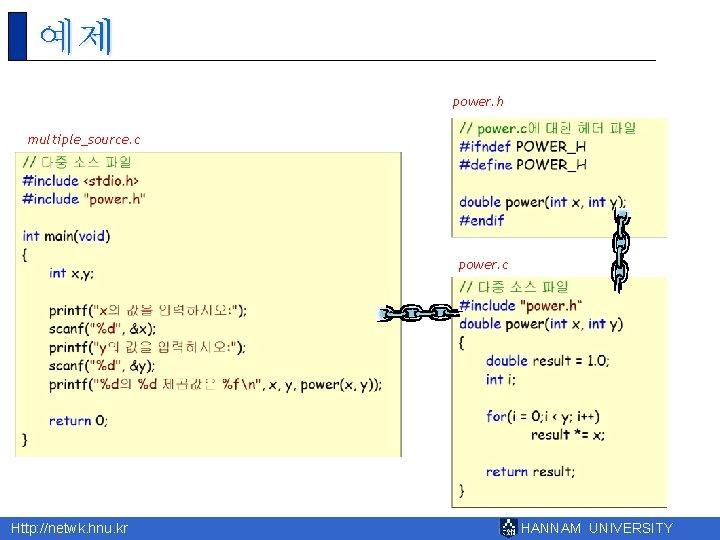 예제 power. h multiple_source. c power. c Http: //netwk. hnu. kr HANNAM UNIVERSITY