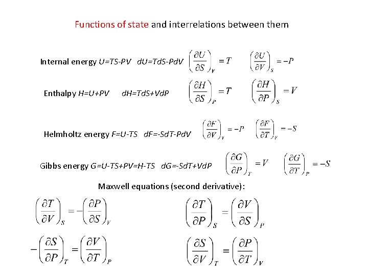 Functions of state and interrelations between them Internal energy U=TS-PV d. U=Td. S-Pd. V
