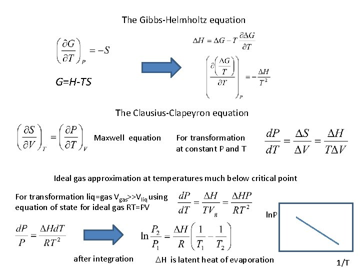 The Gibbs-Helmholtz equation G=H-TS The Clausius-Clapeyron equation Maxwell equation For transformation at constant P