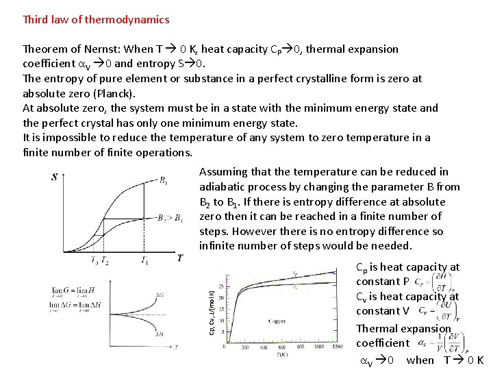 Third law of thermodynamics Theorem of Nernst: When T 0 K, heat capacity CP