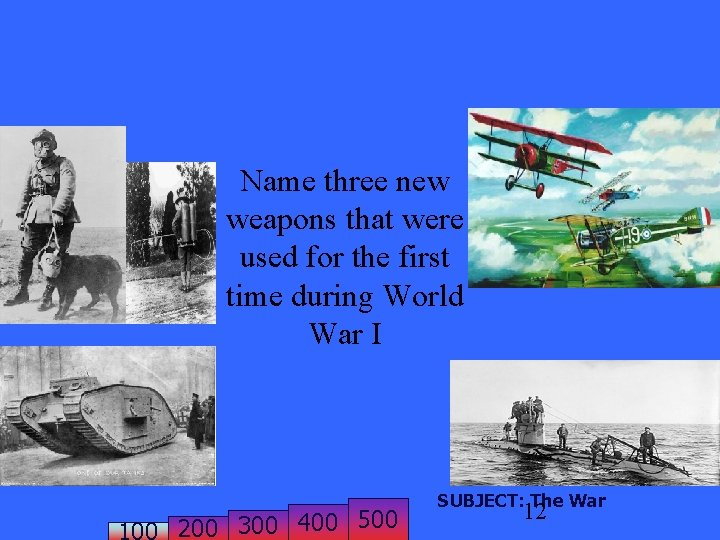 Name three new weapons that were used for the first time during World War