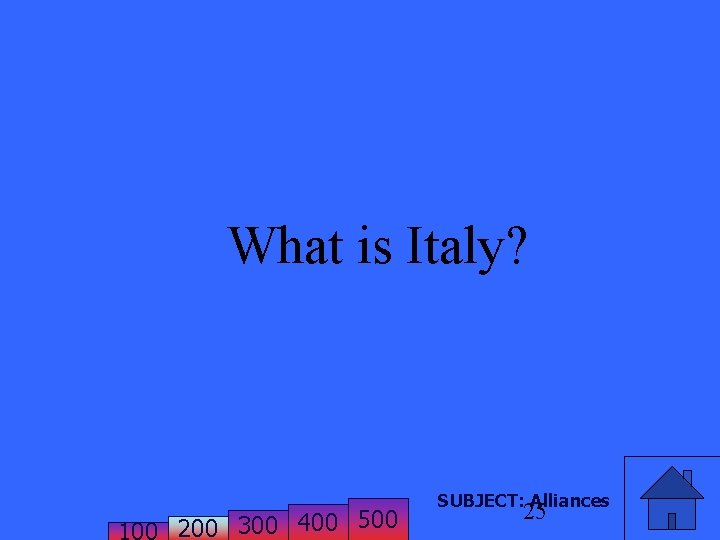 What is Italy? 200 300 400 500 SUBJECT: Alliances 25