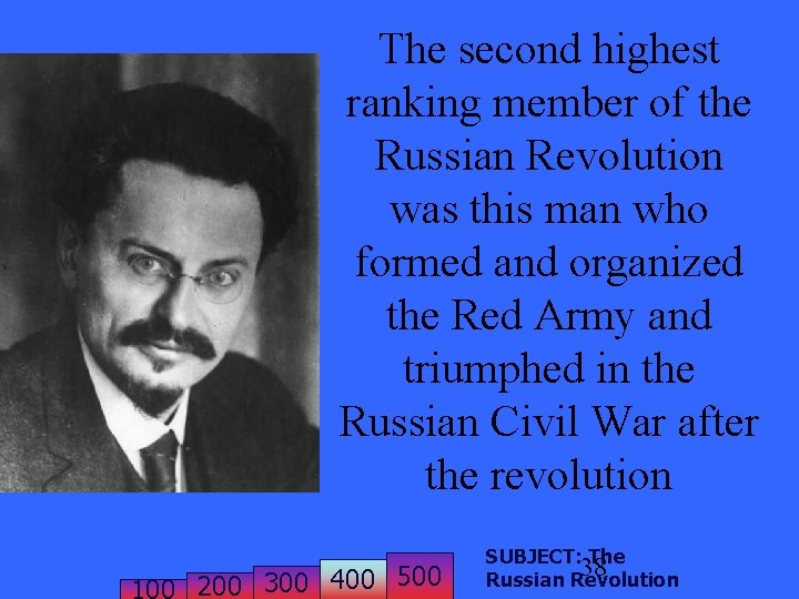 The second highest ranking member of the Russian Revolution was this man who formed