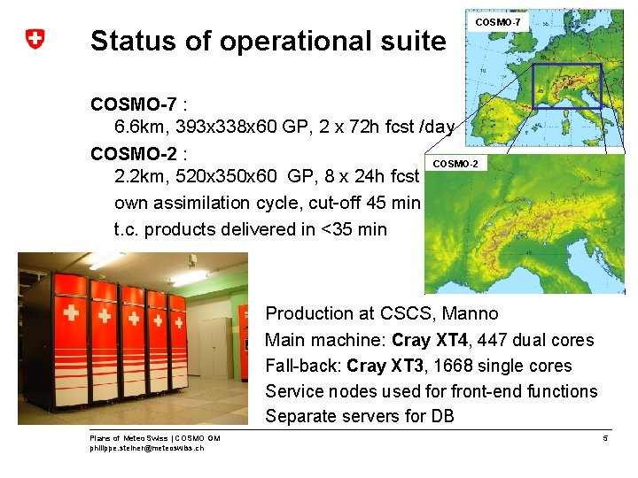 Status of operational suite COSMO-7 : 6. 6 km, 393 x 338 x 60