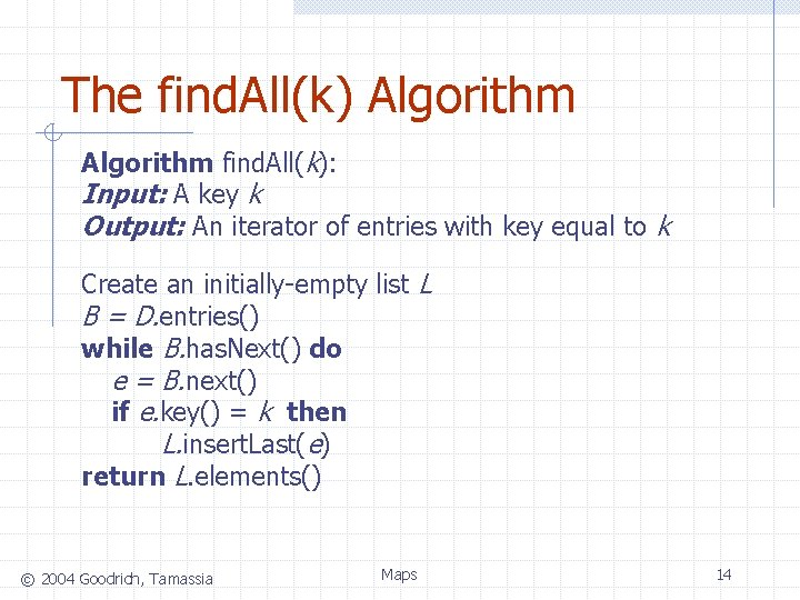 The find. All(k) Algorithm find. All(k): Input: A key k Output: An iterator of