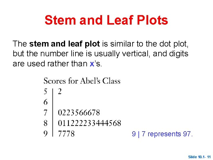 Stem and Leaf Plots The stem and leaf plot is similar to the dot