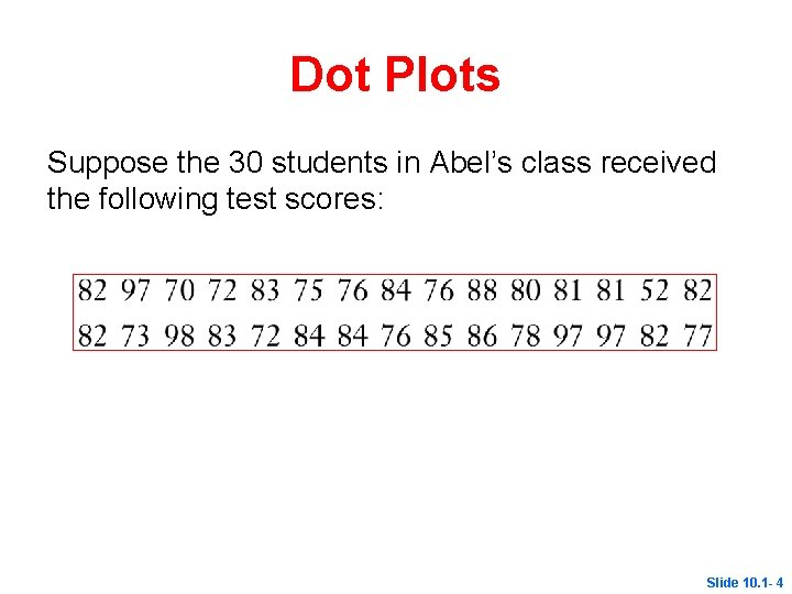 Dot Plots Suppose the 30 students in Abel's class received the following test scores: