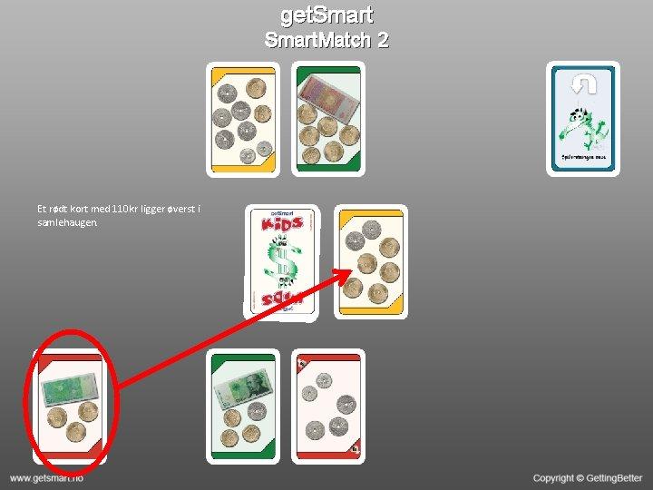 get. Smart. Match 2 Et rødt kort med 110 kr ligger øverst i samlehaugen.
