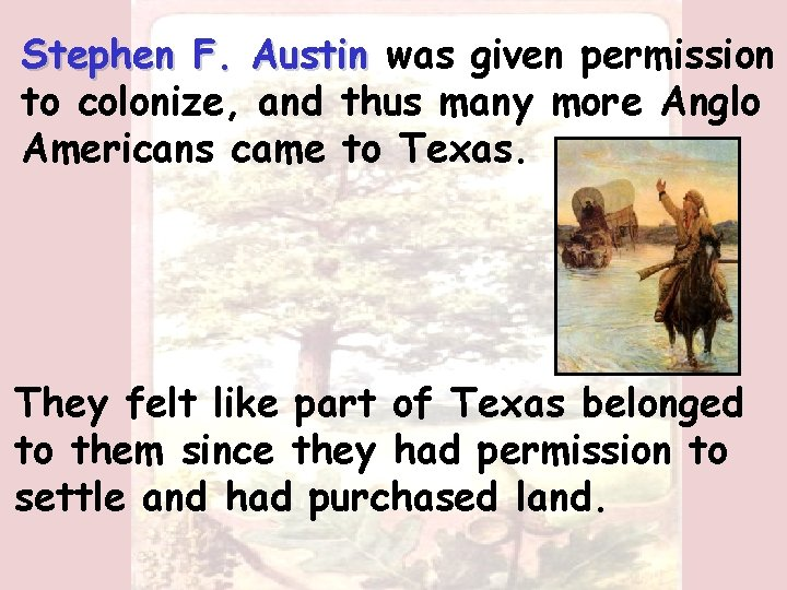 Stephen F. Austin was given permission to colonize, and thus many more Anglo Americans