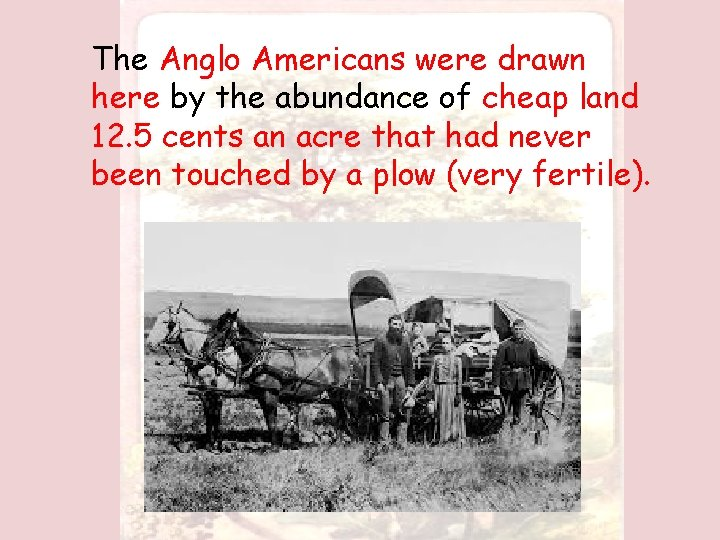 The Anglo Americans were drawn here by the abundance of cheap land 12. 5
