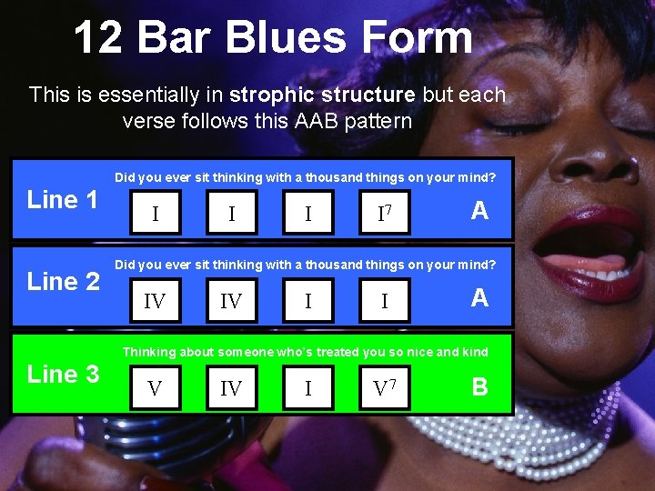 12 Bar Blues Form This is essentially in strophic structure but each verse follows