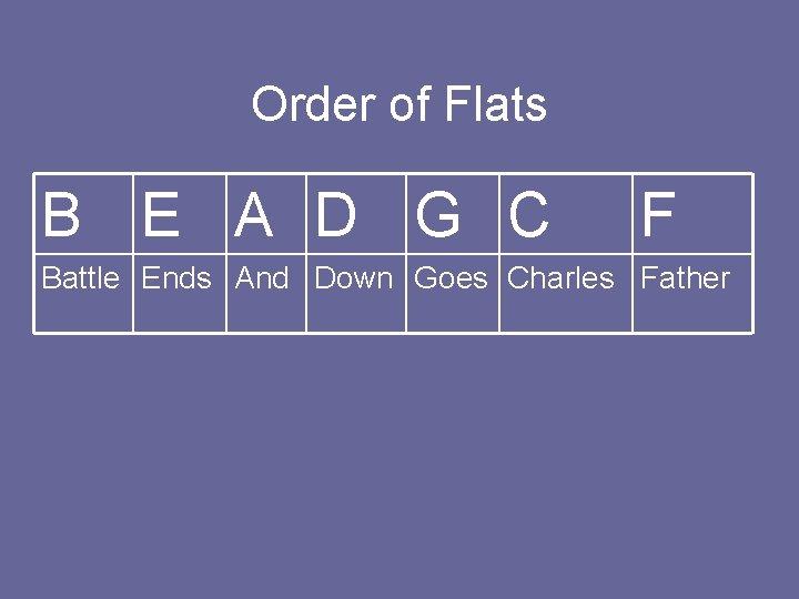 Order of Flats B E A D G C F Battle Ends And Down