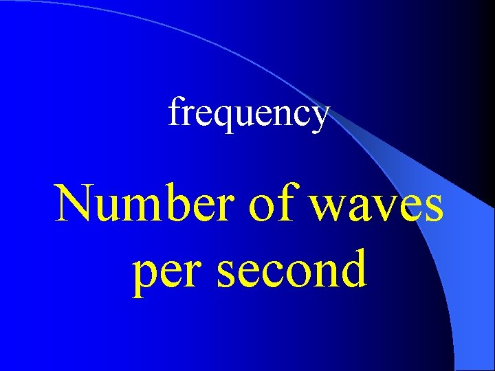 frequency Number of waves per second
