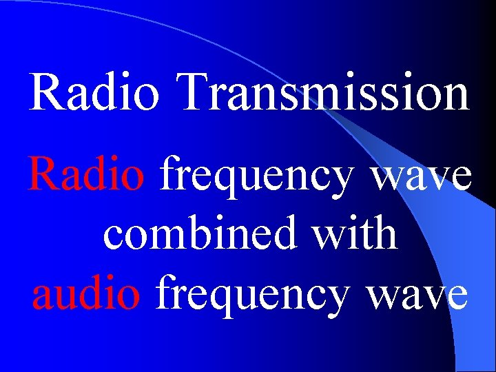 Radio Transmission Radio frequency wave combined with audio frequency wave