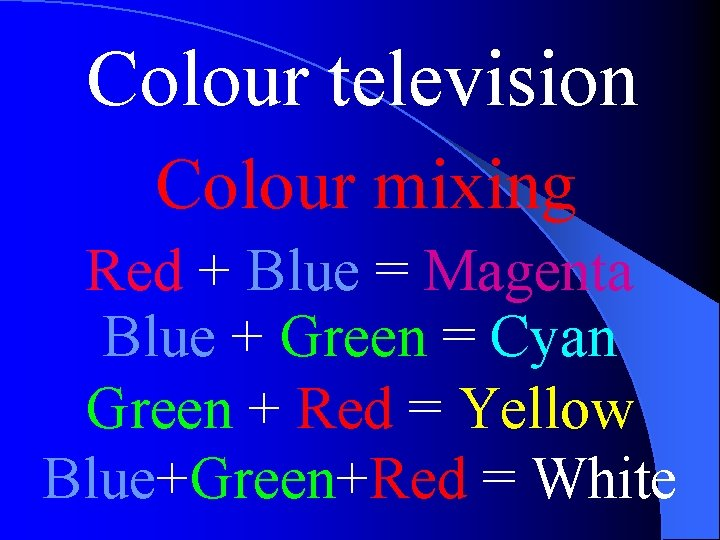 Colour television Colour mixing Red + Blue = Magenta Blue + Green = Cyan