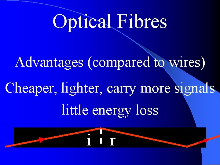 Optical Fibres Advantages (compared to wires) Cheaper, lighter, carry more signals little energy loss