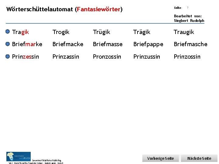 Übungsart: Wörterschüttelautomat (Fantasiewörter) Seite: 7 Bearbeitet von: Siegbert Rudolph Tragik Trogik Trügik Trägik Traugik