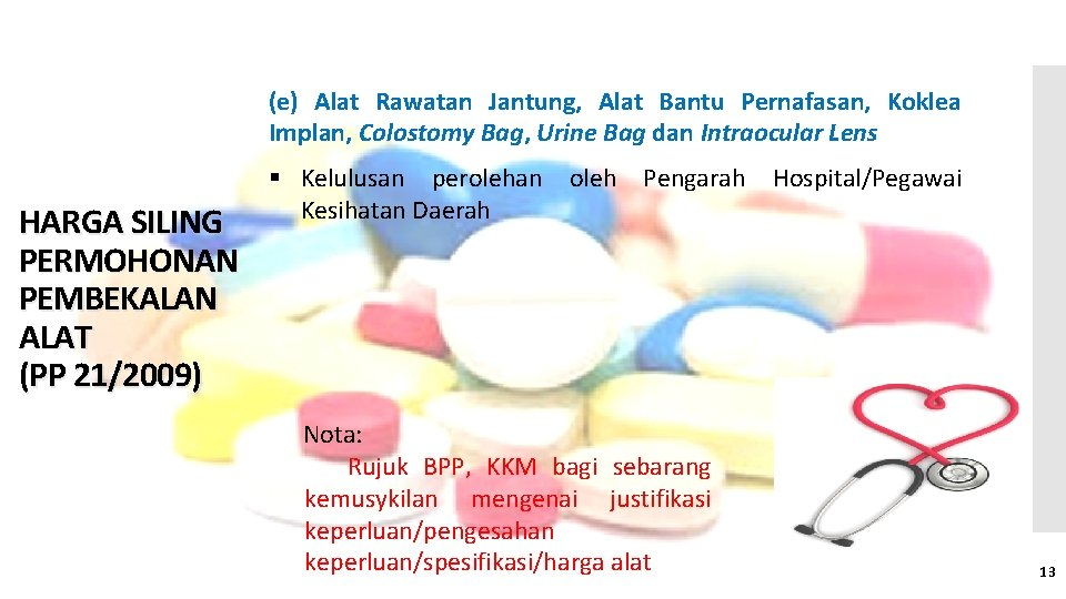 (e) Alat Rawatan Jantung, Alat Bantu Pernafasan, Koklea Implan, Colostomy Bag, Urine Bag dan