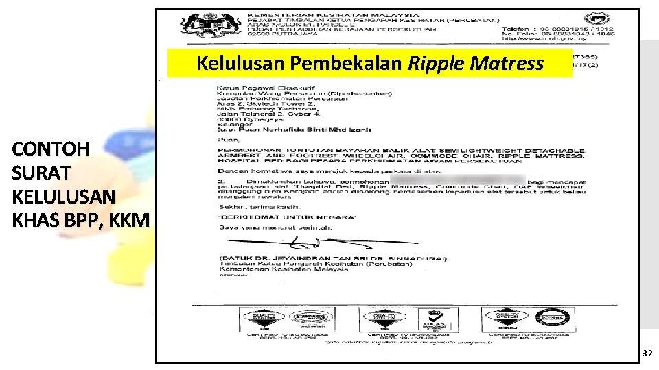 Kelulusan Pembekalan Ripple Matress CONTOH SURAT KELULUSAN KHAS BPP, KKM 32