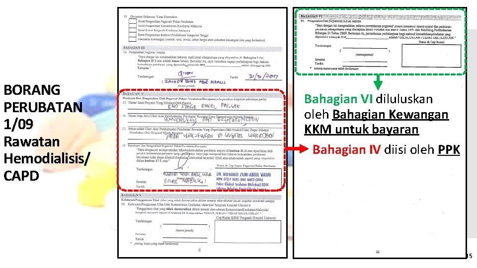 BORANG PERUBATAN 1/09 Rawatan Hemodialisis/ CAPD Bahagian VI diluluskan oleh Bahagian Kewangan KKM untuk