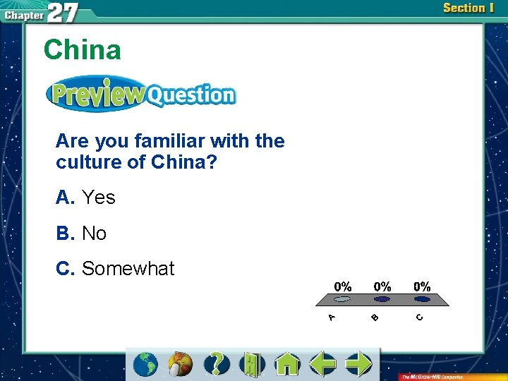 China Are you familiar with the culture of China? A. Yes B. No C.