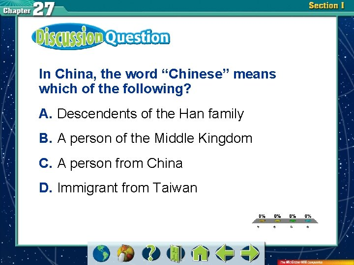 """In China, the word """"Chinese"""" means which of the following? A. Descendents of the"""