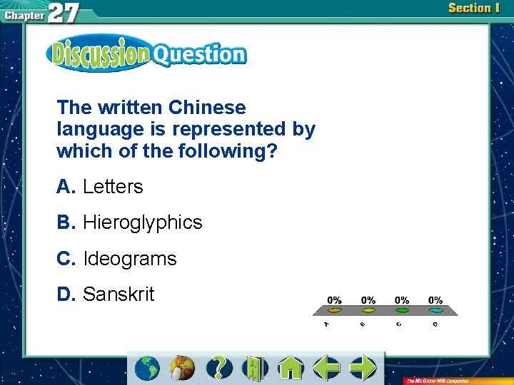 The written Chinese language is represented by which of the following? A. Letters B.