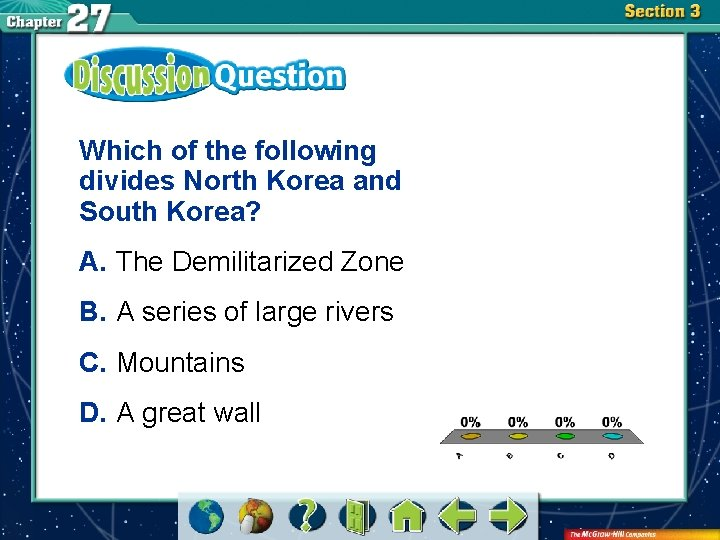 Which of the following divides North Korea and South Korea? A. The Demilitarized Zone