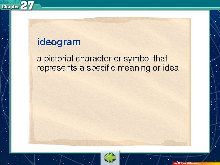 ideogram a pictorial character or symbol that represents a specific meaning or idea