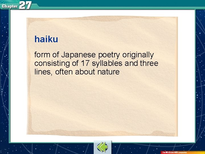 haiku form of Japanese poetry originally consisting of 17 syllables and three lines, often