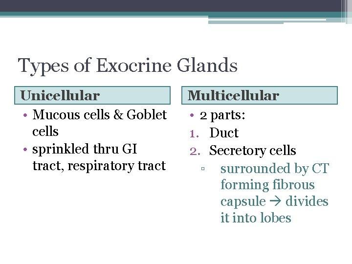 Types of Exocrine Glands Unicellular • Mucous cells & Goblet cells • sprinkled thru