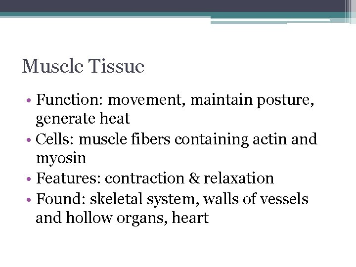 Muscle Tissue • Function: movement, maintain posture, generate heat • Cells: muscle fibers containing