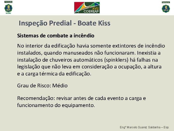 Inspeção Predial - Boate Kiss Sistemas de combate a incêndio No interior da edificação