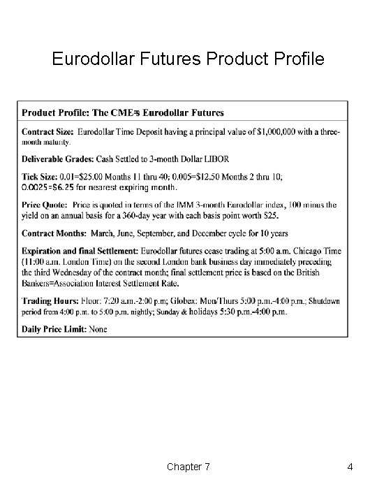 Eurodollar Futures Product Profile Chapter 7 4