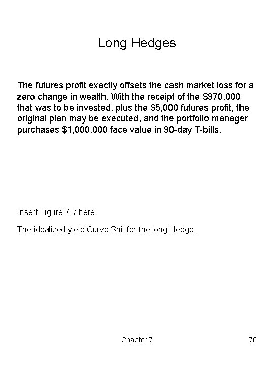 Long Hedges The futures profit exactly offsets the cash market loss for a zero