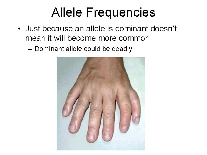 Allele Frequencies • Just because an allele is dominant doesn't mean it will become