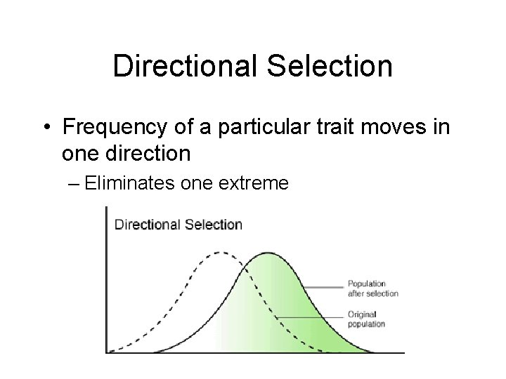 Directional Selection • Frequency of a particular trait moves in one direction – Eliminates