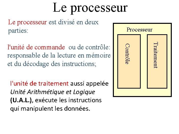 Le processeur est divisé en deux parties: Traitement l'unité de traitement aussi appelée Unité
