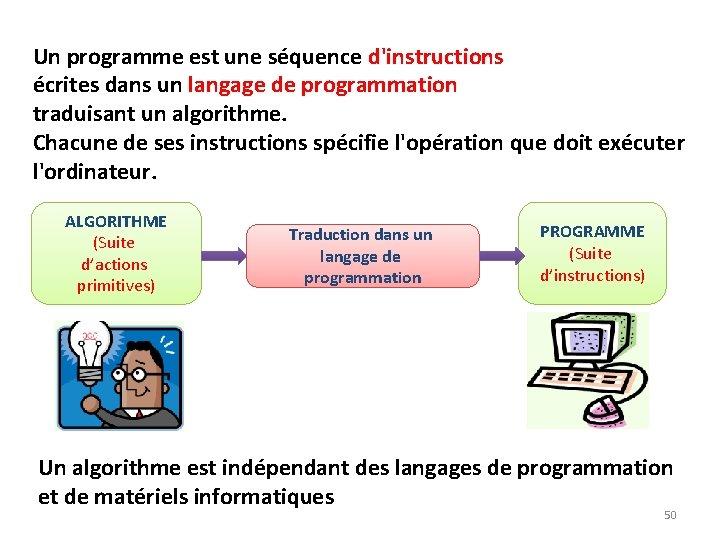 Un programme est une séquence d'instructions écrites dans un langage de programmation traduisant un