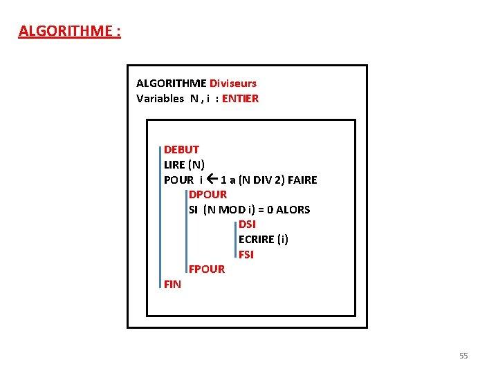 ALGORITHME : ALGORITHME Diviseurs Variables N , i : ENTIER DEBUT LIRE (N) POUR