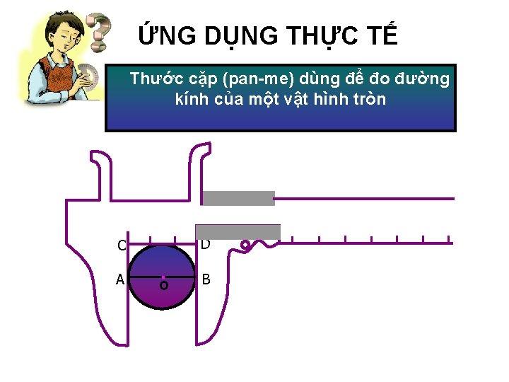 ỨNG DỤNG THỰC TẾ Thước cặp (pan-me) dùng để đo đường kính của một