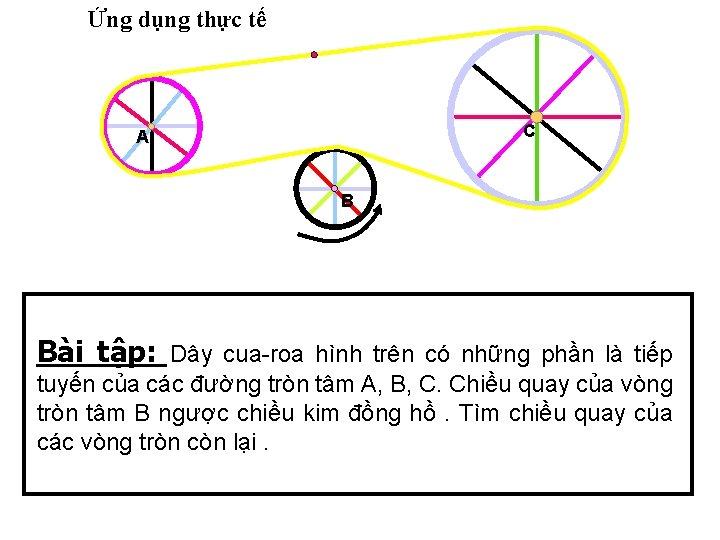 Ứng dụng thực tế C A B Bài tập: Dây cua-roa hình trên có