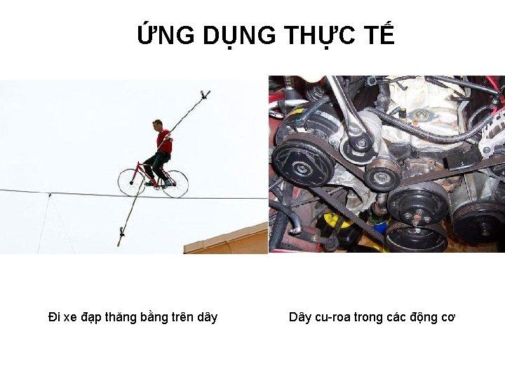 ỨNG DỤNG THỰC TẾ Đi xe đạp thăng bằng trên dây Dây cu-roa trong